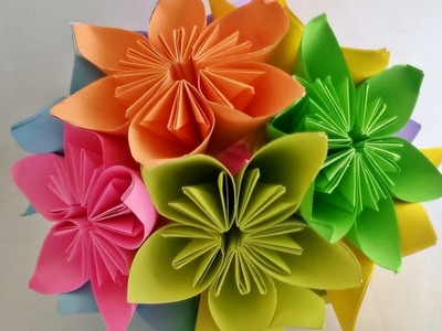 How to make - Kusudama Flower Ball || kusudama flower bouquet || Origami Flower Ball || Craftastic