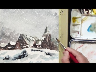 How to watercolor landscape painting of Snowy Day