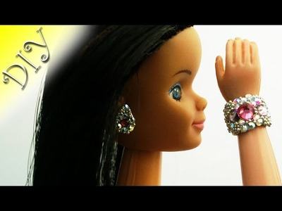 Jewelry for the dolls with their hands.Polymer clay.doll Bracelet.Earrings for dolls.DIY.Tutorial