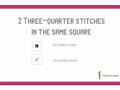 Learn to cross stitch: 2x three-quarter stitches in the same square