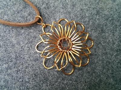 Mandala flower pendant - How to make wire jewelery 219