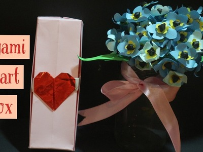 Origami heart box - how to make an origami heart box - super easy - valentine day gift box
