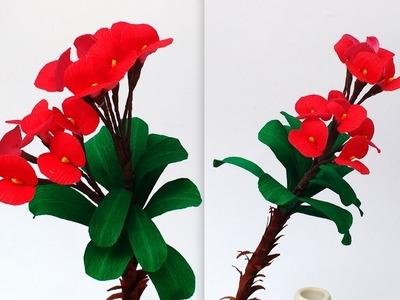 Paper Flowers Euphorbia Milii (flower #112)