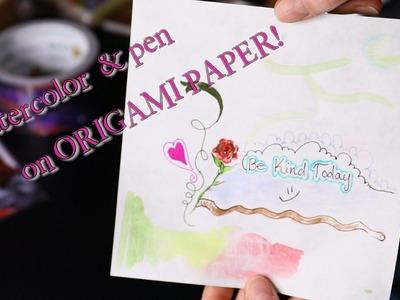 Watercolor & Staedtler fineliner on ORIGAMI PAPER! DIY paper test