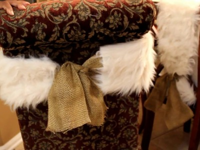 Christmas Decor DIY:  How to make a faux fur chair sash (no sewing)
