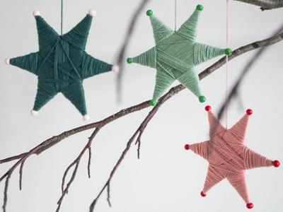 DIY: Yarn-wrapped star ornaments by Søstrene Grene