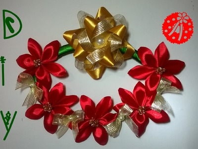 Guirlanda natal com flores de fita\ Christmas wreath with ribbon flowers