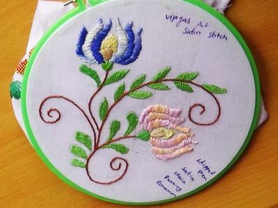 Hand Embroidery Designs # 120 - Lotus flower Design - Satin stitch