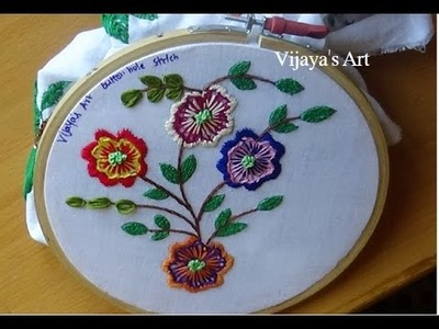 Hand Embroidery Designs # 190 - buttonhole stitch flower designs