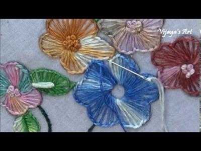 Hand Embroidery Flower Work Designs # 99- Button hole Stitch flower Designs