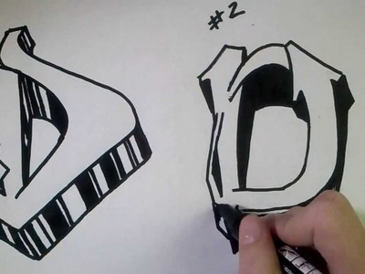 """How to draw Graffiti Letter """"D"""" on paper"""