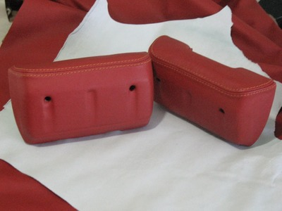 LEATHER UPHOLSTERY- Wrapping a Pair of Armrests