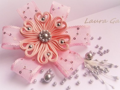 Ribbon flower for hair clip