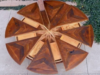Smart Furniture | How 2 Build Expanding Round Table from Reclaimed Barn Wood
