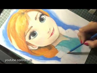 Speed Drawing: Anna (Frozen)   Diana Díaz [REUPLOAD]