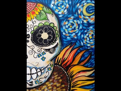 Sugar Skull Easy beginner Acrylic Painting Dias de los Muertos tutorial