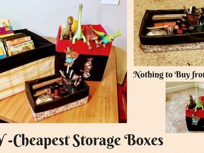 3 DIY  Cheapest Storage Bins. Boxes ll DIY Organization Bins
