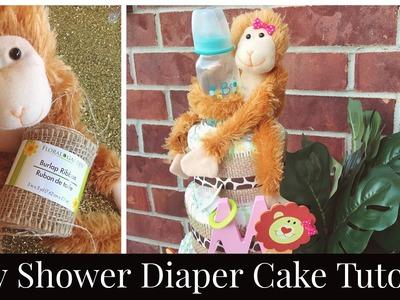 BABY SHOWER DIAPER CAKE Tutorial | DIY Diaper Cake