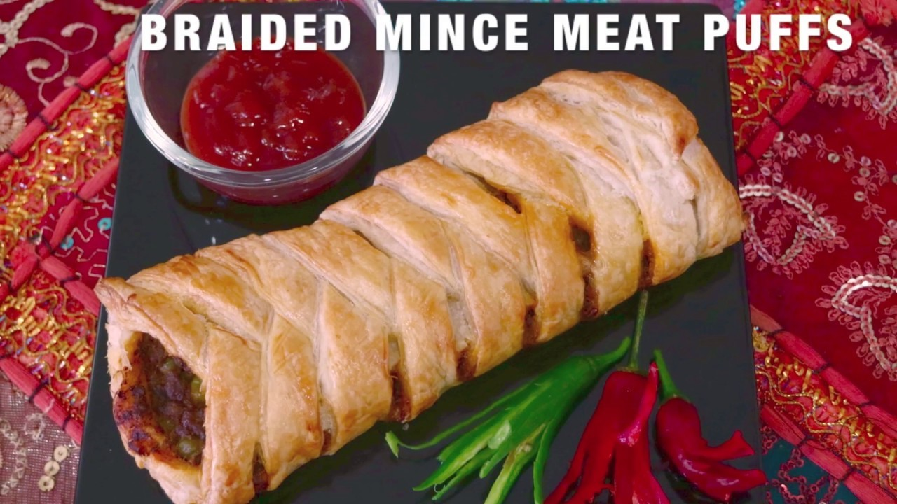 Braided Mince Meat Puffs. How to Braid Puff Pastry. Puff Pastry Appetizer Idea - Curryforthesoul