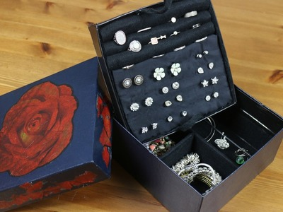 DIY 2017  - Cardboard upcycling Jewellery box with a shabby chic decoupage lid. Crafts