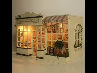 DIY Crafts: Miniature Coffee Shop Part1. Miniature Cute Room with LED lights & Music