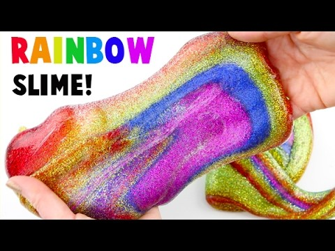 DIY How to Make Rainbow Glitter Slime! Satisfying Video