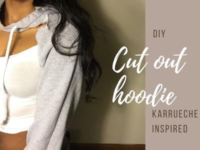 DIY Karrueche Inspired Cut Out Hoodie