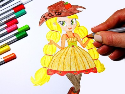 DIY My Little Pony Coloring Book Arts for Kids How to Color Applejack , Equestria Girls! How to Draw