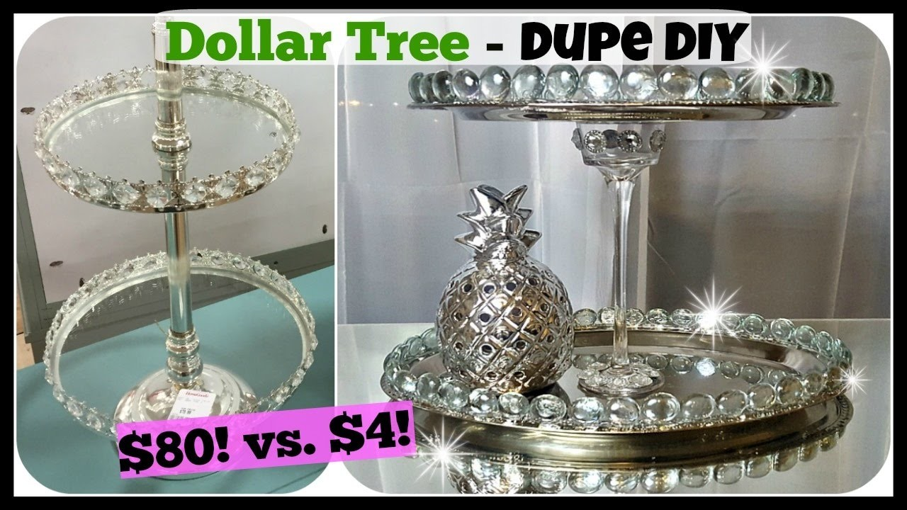 dollar tree diy home decor dupe 2 tiered tray stand glam dollar tree decor on pinterest dollar tree crafts