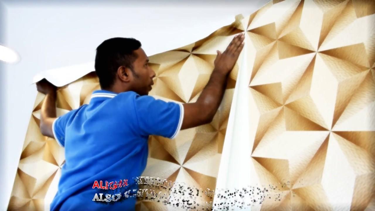 How to Install 3D Korean Wallpaper using Glue - DIY by Alaqsa Carpets