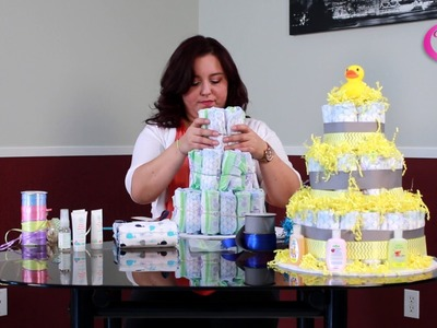 How to make a Diaper Cake for Baby shower DIY
