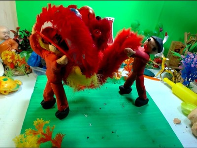 Play doh art for kids | How to make a play doh Lion dance kids play
