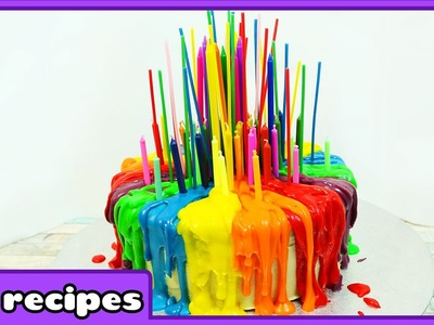 Rainbow Cake with Melting Candles Tutorial | Birthday Cake Decorating Tips by HooplaKidz Recipes