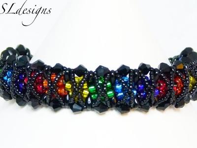 Rainbow kisses beaded kumihimo bracelet ⎮ Valentine's Day