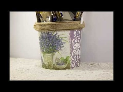 #17 DIY Provence style plastic bucket plastic pails recycled into flower pot making at home