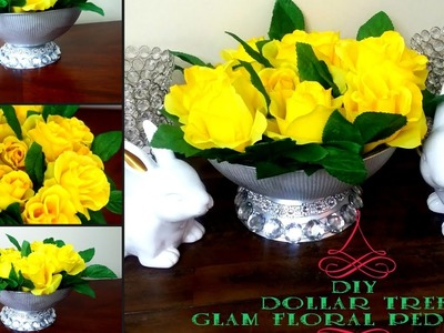DIY DOLLAR TREE Glam Floral Pedestal