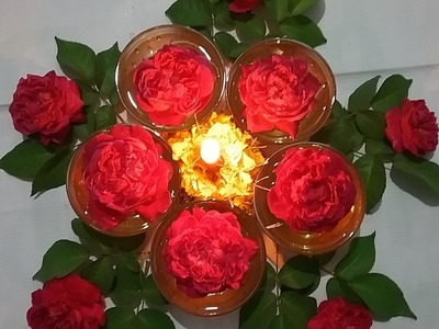 Flower decaration ideas with roses l DIY easy center piece ideas for party tables l roses rangoli