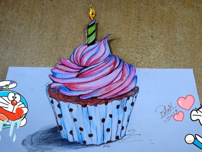 Happy birthday cake drawing | How to draw 3D cake | Cupcake drawing