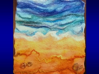 How to make a wool felt picture: beach sea