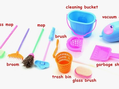Learn names of miniature cleaning Toys for Barbie dollhouse Playset for Kids Unboxing