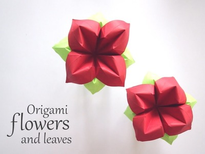 Origami Flower and Leaves