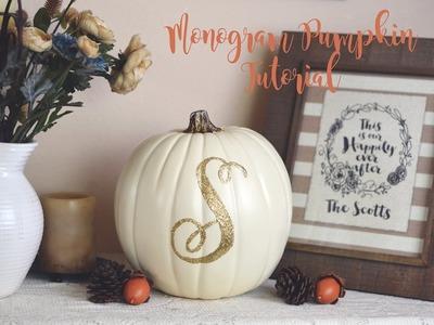 DIY Fall Decorations - Monogram Pumpkin Tutorial