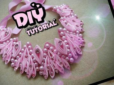 DIY Kanzashi Necklace 01. Ожерелье канзаси 01