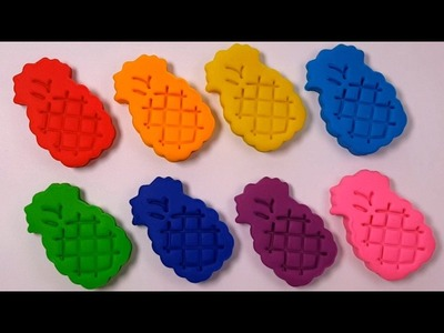 DIY Rainbow Pineapple Learn Colors Play Doh Modelling Clay Molds Finger Family Baby Nursery Rhymse