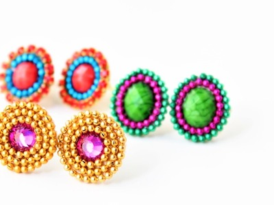 Earring studs making.Studs.patches for silk thread earrings.easy tutorial