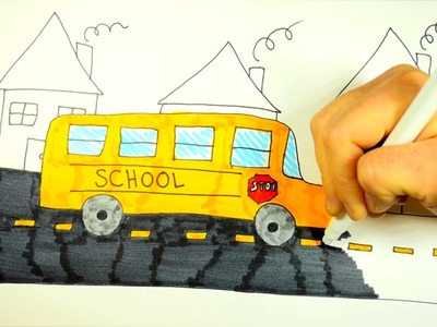 How To Draw A Cartoon School Bus, Step By Step, For Kids (EASY)
