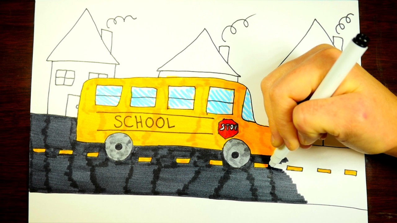 How To Draw A Cartoon School Bus, Step By Step, For Kids ...