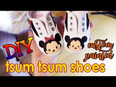 Painted Tsum Tsum Mickey and Minnie Mouse Shoes | DIY Custom Painted Shoes | Speed Painting