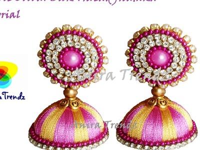 Simple and Easy Double colour Silk thread Jhumka Tutorial