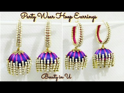 Simple and Easy Partywear Silk Thread Earrings | Tutorial
